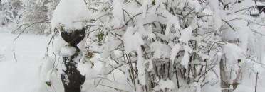der kleine weiße Schneemann ist fast unsichtbar