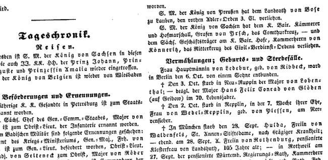 """""""Zeitung für den deutschen Adel"""" Tageschronik"""