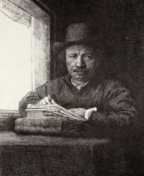 Rembrandt: Selbstporträt, zeichnend